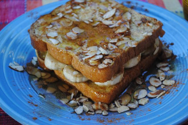 Banana Almond Stuffed French Toast=YUM!!!