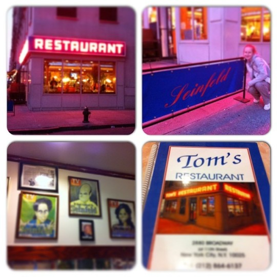 "THE highlight of my trip by far (besides being able to spend some much needed time with the besty). A trip to Tom's Diner (aka Monk's Café from Seinfeld). ""I'll have the big salad."" Dream. Come. True."