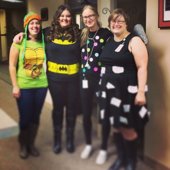 Halloween? We dress like this every day at the office. I'm the one in black next to Batman (girl) and the social butterfly (how awesome is that idea by the way?!)