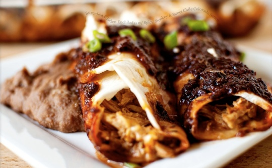 Succulent chicken enchiladas w_ spicy, smokey and sweet chili Colorado sauce_ Say what say what!_! It all sounds good_